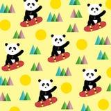 Panda on a skateboard - pattern Royalty Free Stock Photo