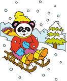 Panda on the sled. Panda goes on a sled in the mountains Stock Image