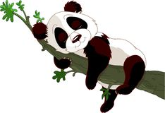 Panda sleeping on a branch vector illustration