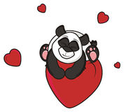 Panda is sleeping on a red heart Royalty Free Stock Photo