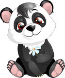 Panda. The small panda sits and holds a floret stock illustration