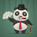 Panda smoking cigar and holds money Stock Photo
