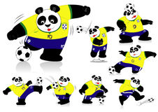 Panda Soccer Brasil All Action Royalty Free Stock Images