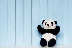 Panda soft toy. Old vintage panda soft toy on the bookshelf in the children's room on the blue wooden background royalty free stock photography