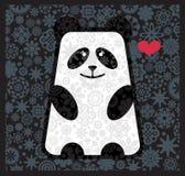 Panda som är förälskad med blommor. Royaltyfri Foto