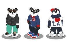 Panda stylu życia moda 3 royalty ilustracja