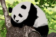 Panda su un ramo di albero illustrazione di stock