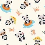 Panda during summer seamless pattern Stock Photography