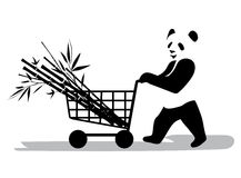 Panda in supermarket. A panda buys a bamboo in a supermarket Stock Photography