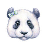Panda sur le fond blanc Retrait d'aquarelle L'illustration des enfants Travail manuel Photos stock