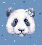 Panda sur le fond bleu Retrait d'aquarelle L'illustration des enfants Travail manuel Photographie stock