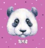 Panda sur le fond rose Retrait d'aquarelle L'illustration des enfants Travail manuel Photographie stock libre de droits
