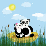 Panda sur le lac illustration stock