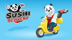 Panda sushi delivery on scooter. Vector clip art illustration.  royalty free illustration