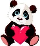 Panda sveglio con cuore Fotografie Stock