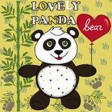 Panda sveglio con cuore Immagine Stock