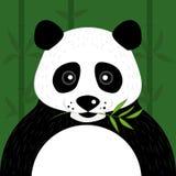 Panda sveglio con la foglia di bambù in foresta illustrazione di stock