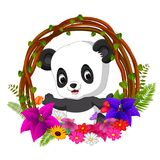Panda sveglio nella radice del telaio dell'albero con il fiore illustrazione di stock