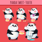 Panda sweet tooth eating cake, character animation Stock Images