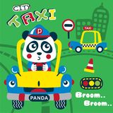 Panda the taxi driver funny animal cartoon. Animal cartoon design for t-shirt,vector illustration art,new design,funny animal cartoon Stock Images