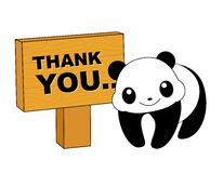 Panda thank you card. Cute panda with thank you notice board isolated on white thank you card stock illustration