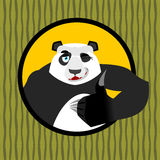 Panda thumb up and winks. Chinese bear all good. Signs all right Stock Photos