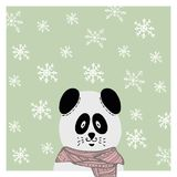 Panda tiré par la main d'hiver dans l'écharpe snowflake Illustration Libre de Droits