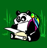 Panda tourist map cartoon illustration Royalty Free Stock Images