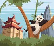 Panda on tree in ancient China. Illustration royalty free illustration