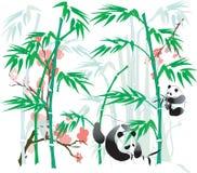 Panda und Bambus. Lizenzfreie Stockbilder