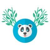 Panda und Bambus in der flachen Art Lizenzfreie Stockfotos
