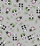 Panda und Bambus, grauer Hintergrund Vector nahtloses Muster - Textil, Postkarten, Tapete Stockfoto