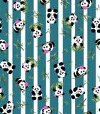 Panda- und Bambusmuster mit Streifenhintergrund ENV 10 Stockfotografie