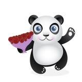 Panda und Blumenstrauß von Rosen Stockbild