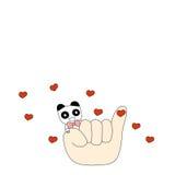 Panda und ein kleiner Finger Lizenzfreies Stockfoto