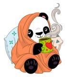 Panda w wygodnej koc z herbatą royalty ilustracja