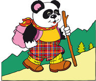 Panda walks in the mountains. With a rucksack Stock Photos