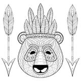 Panda with warbonnet, arrows in zentangle style. Freehand sketch Royalty Free Stock Images