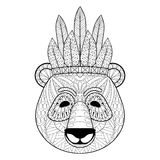 Panda with warbonnet in zentangle style. Freehand sketch. For adult antistress coloring page with doodle elements. Ornamental artistic vector illustration for Stock Image