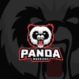 Panda Warriors Abstract Vector Sign, emblema o Logo Template Sport Team Mascot Label Fronte arrabbiato dell'orso con tipografia Immagine Stock Libera da Diritti