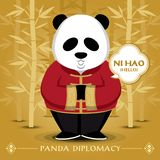 Panda Wears Traditional Costume And Says Hello In Chinese Language. Royalty Free Stock Images