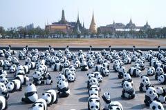 Panda-Welttournee durch WWF am riesigen Schwingen, Bangkok Stockbild