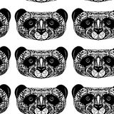 Panda on white background hand-drawing head. Seamless patern. Ve Royalty Free Stock Photos