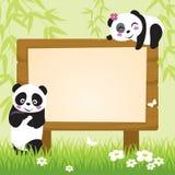 Panda y bambú stock de ilustración