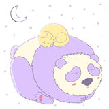 Panda y gato el dormir ilustración del vector