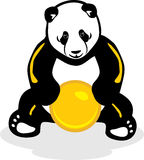 Panda with a yellow ball Royalty Free Stock Image
