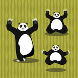 Panda Yoga meditating. Chinese bear on background of bamboo. Sta Royalty Free Stock Photography