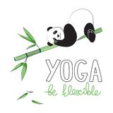 Fashion for teenagers. Vector illustration. Panda yoga in the style of a comic book. Design for sticker, patch, poster, personal royalty free illustration