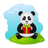 Panda z prezentem również zwrócić corel ilustracji wektora Zdjęcia Stock