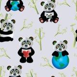Panda z ziemią royalty ilustracja